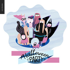 Treak or treat group of children, greeting card with lettering. Vector cartoon illustrated group of kids wearing Halloween costumes and a french bulldog, scared by something. Composition accompained