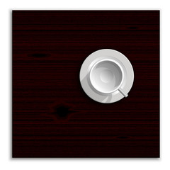 Realistic white cup illustration. Top view image.
