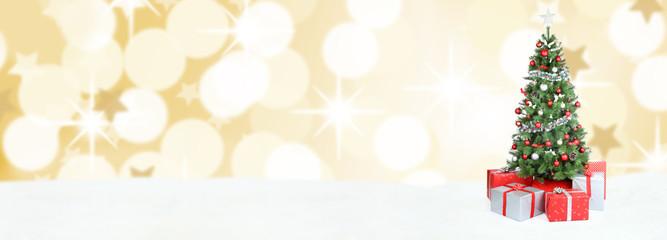 Weihnachtsbaum Weihnachten Banner Dekoration Schnee Gold Textfre