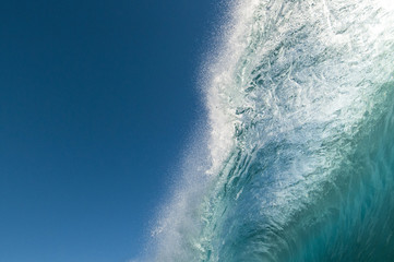 Pitching lip of a breaking wave, Rarotonga, Cook Islands.