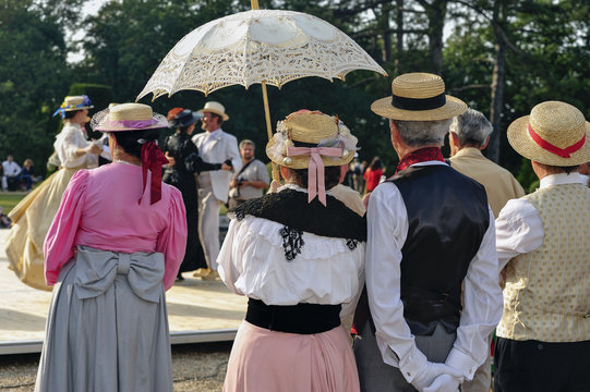 Paris, France, Group of Fench Seniors dressed in Traditional Costumes at Outdoor Ball event, PS-52177