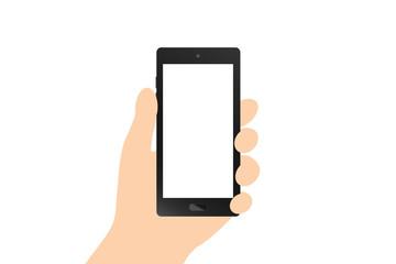 Hand holding black smart phone