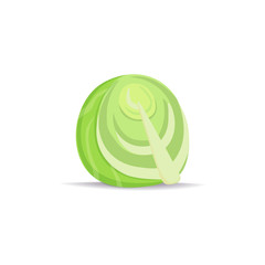 Cabbage icon in cartoon style. Vegetable from garden. Organic food.