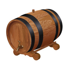 Realistic wooden barrel