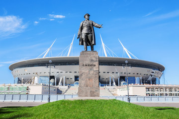 Monument to prominent figure of the Bolshevik Party Kirov before the football stadium on Krestovsky Island in St. Petersburg
