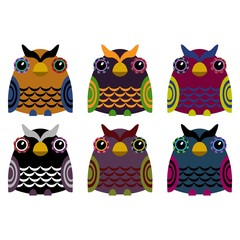 Vector set of six colorful owls on a white background