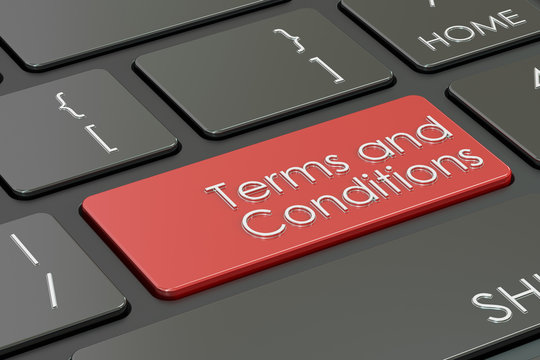 terms and conditions, red key on  keyboard. 3D rendering