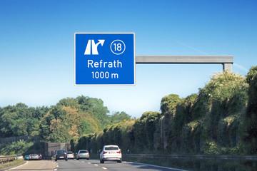 Ausfahrtsschild Nr. 18 Köln/Refrath auf BAB 4