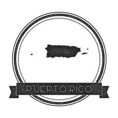 Retro distressed Puerto Rico badge with map. Hipster round rubber stamp with country name banner, vector illustration.