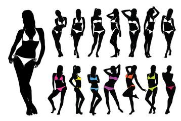 Silhouettes of woman in bikini.