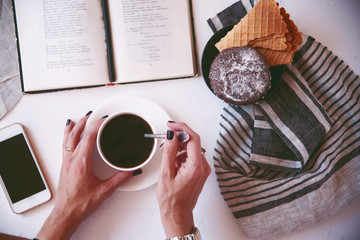 coffee and favorite book