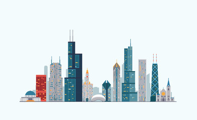 Chicago colorful skyline Wall mural