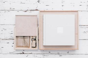 Beautiful white wedding photobook on white background. Wedding concept