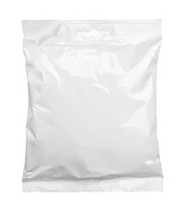 Top view of blank plastic pouch food packaging isolated on white with clipping path