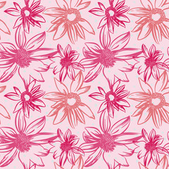 Vector seamless pattern with hand-drawn ink flowers