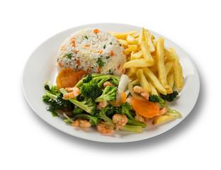 Thai food Pad thai , Stir fry noodles with shrimp and vegetables