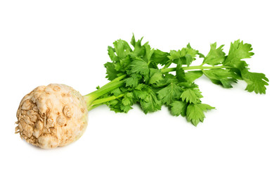 Celery root with leaves