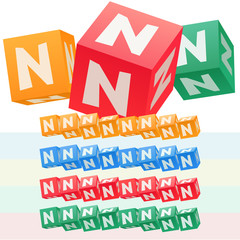 Vector set of children cube alphabet. Optional colorful graphic styles. Letter N