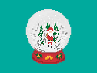 Christmas Glass Snow Ball In Pixel Art Style
