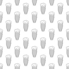 Tall glass of beer seamless pattern on white background. Alcoholic beverage design vector illustration