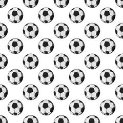 Soccer ball seamless pattern on white background. Game design vector illustration