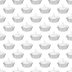Bath for baby seamless pattern on white background. Child care design vector illustration