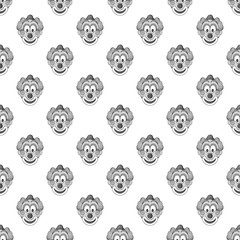 Clown seamless pattern on white background. Jester design vector illustration