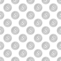 Coin seamless pattern on white background. Money design vector illustration