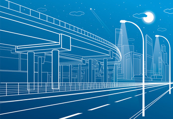 Automotive isolation, architectural and infrastructure composition, transport overpass, highway, white lines urban scene, night city on background, vector design art