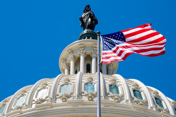 The american flag waving in front of the Capitol dome in Washing