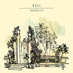 Balinese Hindu temple in Bali, Indonesia, Asia. Traditional Galungan decoration. Grungy freehand drawing. Hand drawing. Travel sketch. Book illustration, postcard or poster template