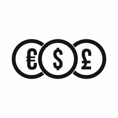 Euro, dollar, pound coin icon in simple style on a white background vector illustration