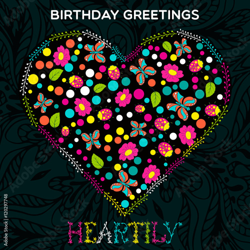 template greeting card happy birthday flowers in heart shape