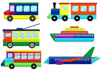 Set toy transport modes. Vector illustration.