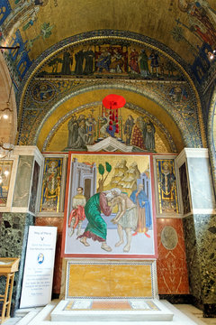Westminster Cathedral, London, England. The Chapel of St Gregory and St Augustine in Westminster Cathedral. The mosaic decoration depicts the historical evangelisation of England directly from Rome.