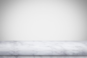 Empty marble table with white gray gradient wall background.