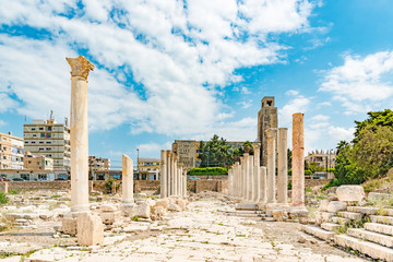 Al Mina archaeological site in Tyre, Lebanon. It is located about 80 km south of Beirut and has led to its designation as a UNESCO World Heritage Site in 1984.