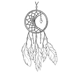 Monochrome black and white ethnic hand made feather dream catcher vector