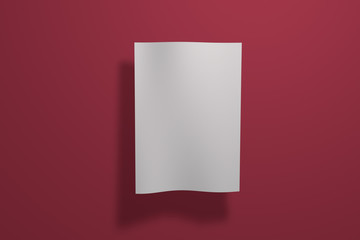 Mock up poster on colored background. Poster standart format A5 / A4 / A3 / A2 / A1/ A0. Three-dimensional rendering.