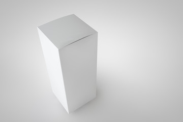 Mock up package box. White tall long product cardboard. Realistic box for your design. Three-dimensional rendering.