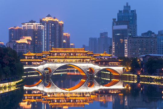 Chengdu anshun bridge at blue hour, Sichuan province, China