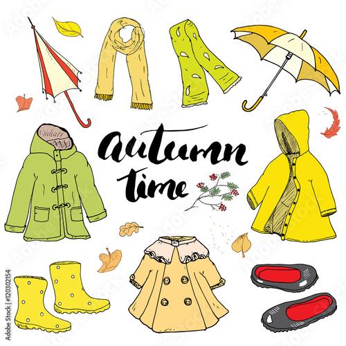 """Autumn season clothes set. Hand drawn doodles and ..."