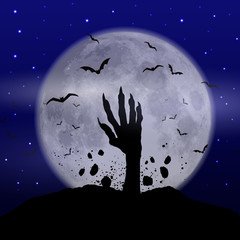 Fototapete - Halloween background with zombie hand