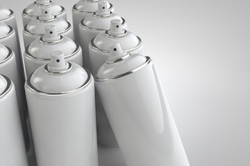 Spray can on light background. 3D render cans.