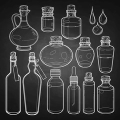 Graphic collection of glass bottles
