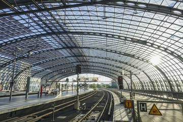 Amazing and futuristic glass building of Berlin Central Station - Berlin Hauptbahnhof