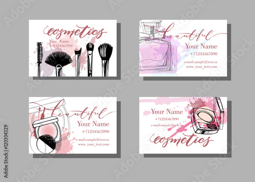Makeup artist business card vector template with makeup items makeup artist business card vector template with makeup items pattern fashion and beauty background reheart Images