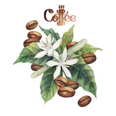 Watercolor coffee vignette