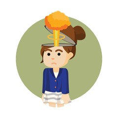 businesswoman with mushroom clouds head