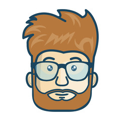avatar man with beard and glasses. male cartoon person. vector illustration